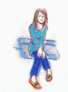 潮裤裤的少女