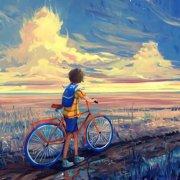 单手推着自行车